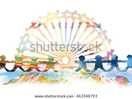 Happy Paper Doll Chain Children Holding Hands in Front of a Beach Sunset