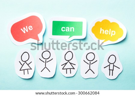Happy paper people with speech bubbles of We can help text on the blue background. - stock photo