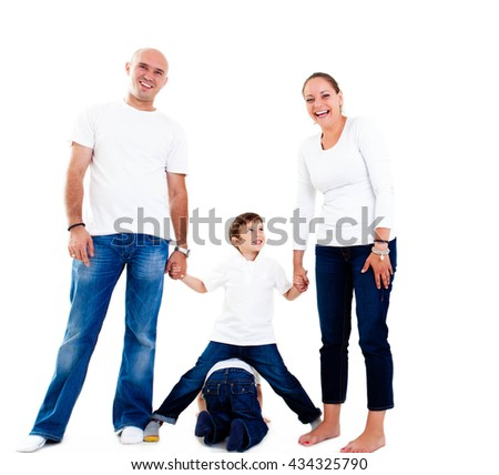 Happy parents with their children - stock photo