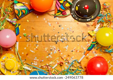 Happy party background on wood  - stock photo