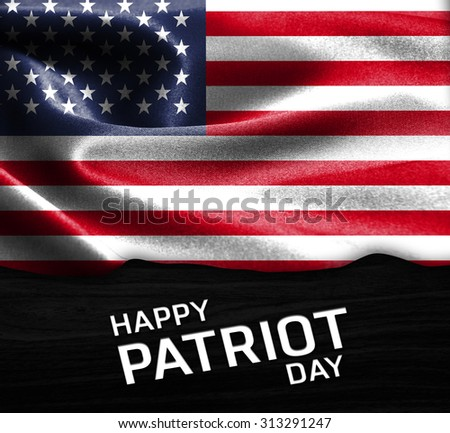 Happy Patriot Day America flag on wood Texture background