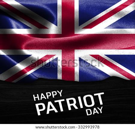 Happy Patriot Day United Kingdom flag on wood Texture background - stock photo