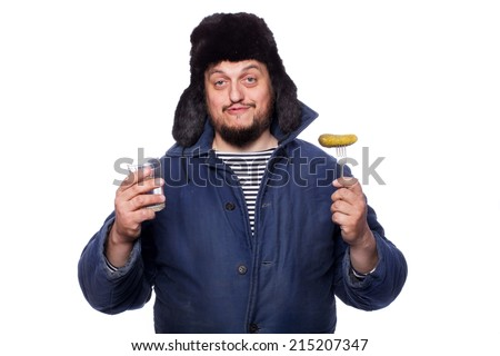 Happy, peaceful russian man offering a vodka and appetizer, cheers. Studio portrait isolated on white background