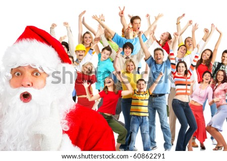 Happy People and Santa. Over white background - stock photo