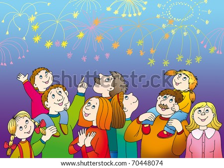 happy people are watching fireworks in the sky - stock photo