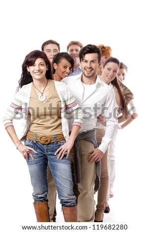 happy people business team group together isolated on white background - stock photo