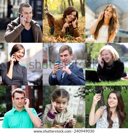 Happy people calling by mobile phone - stock photo