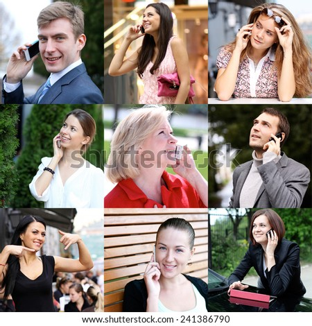 Happy people calling by mobile phone