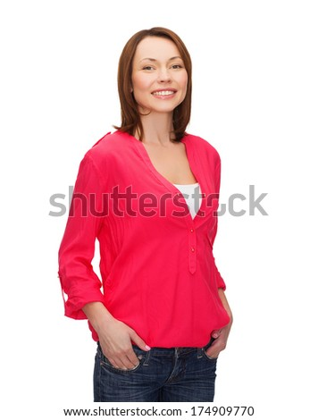 happy people concept - smiling woman in casual clothes