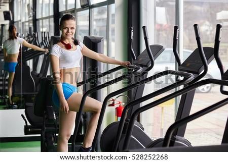 Happy People Doing Indoor Biking Fitness Stock Photo 528252250