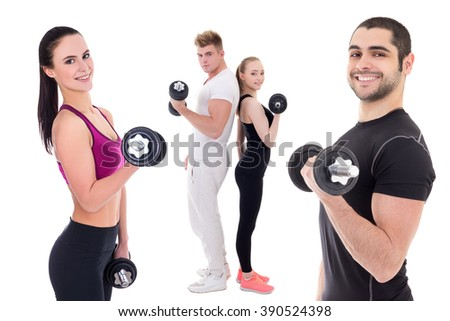 happy people in sportswear doing exercises with dumbbells isolated on white background - stock photo