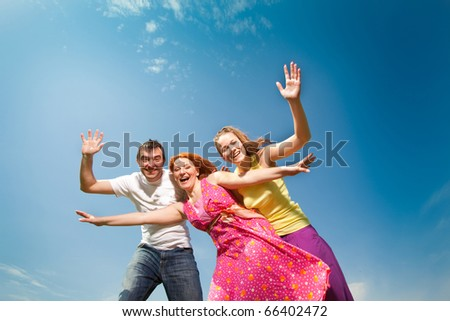 Happy people is jumping - stock photo