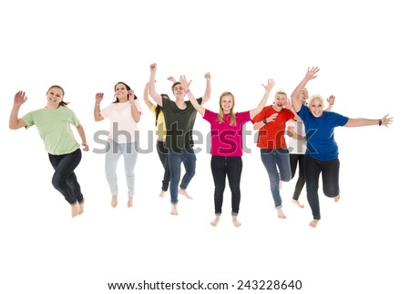 Happy people isolated on white background - stock photo