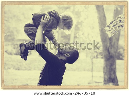 Happy people outdoors Family father and son  - stock photo