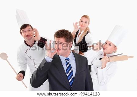 happy people posing in studio - stock photo