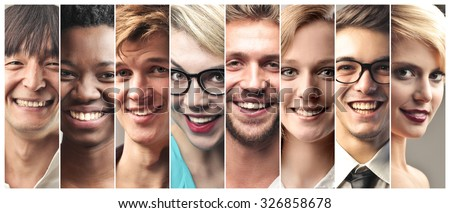 Happy people's portraits - stock photo