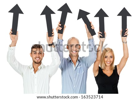 happy people showing up black arrows business team advertising isolated - stock photo
