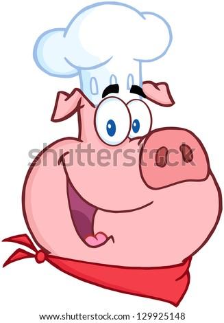 Happy Pig Chef Head. Raster Illustration. - stock photo