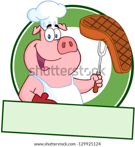 Happy Pig Chef Holding A Steak On Fork Over A Blank Banner. Raster Illustration. - stock photo
