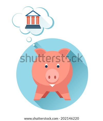 Happy pig with bank symbol in thought bubble on white background - stock photo