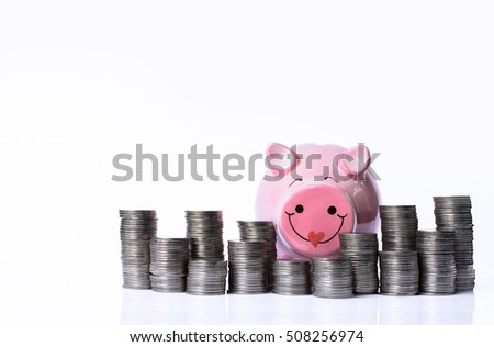 Happy piggy bank and tower of coins, money tower on white background.