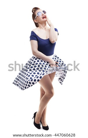 Happy Pin-up girl  posing on white background - stock photo