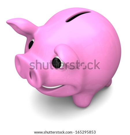 Happy pink piggy bank, concept of savings and investments, isolated on white background