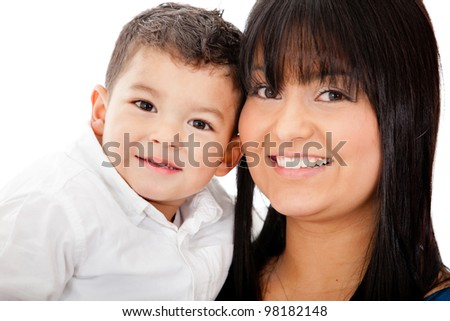 Happy portrait of a mother and her son - isolated over a white background - stock photo