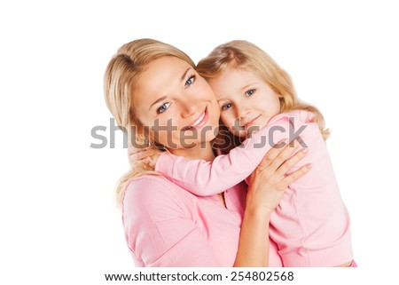 Happy portrait of beautiful young mother with little pretty daughter - isolated on white - stock photo
