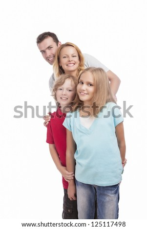 happy positive family in queue and smiling against white background - stock photo