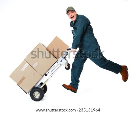 Happy postman running with parcel. Delivery man. - stock photo
