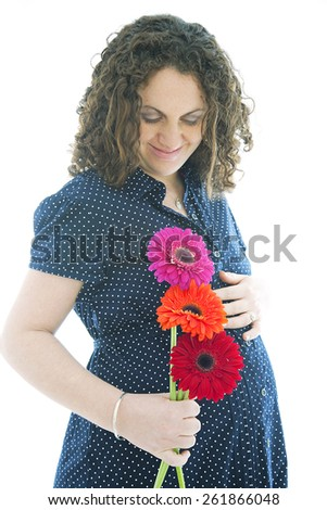 Happy pregnant woman, isolated on white - stock photo
