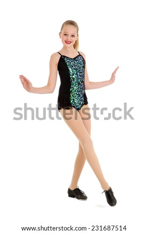 Happy Preteen Tap Dancer Posing - stock photo