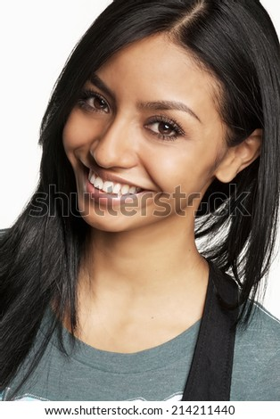Happy pretty smiling young woman isolated against white background - stock photo