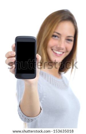 Happy pretty woman showing a blank smart phone screen isolated on a white background                 - stock photo