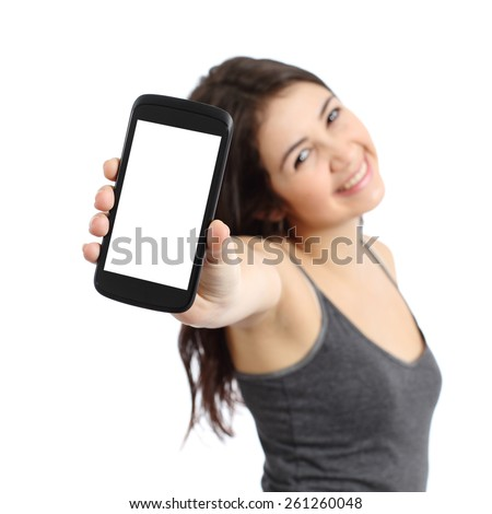 Happy promoter girl showing a blank smart phone screen isolated on a white background - stock photo