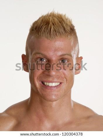 Happy punk hairstyle man portrait. - stock photo