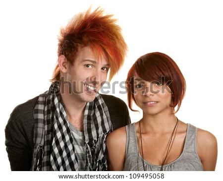 Happy punk rock couple over white background - stock photo