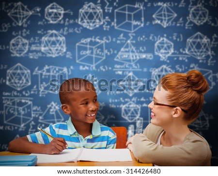 Happy pupil and teacher against blue chalkboard - stock photo