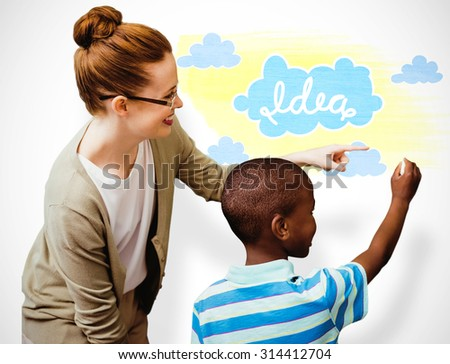 Happy pupil and teacher against white background with vignette - stock photo