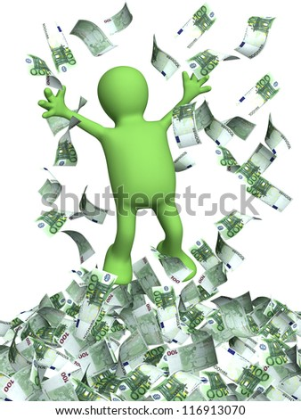 Happy puppet and a money rain. Isolated over white