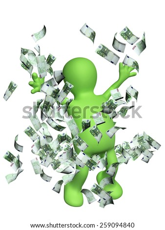 Happy puppet with money. Isolated on white background - stock photo