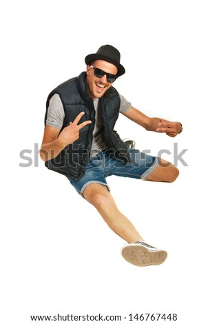 Happy rapper man gesticulate isolated on white background