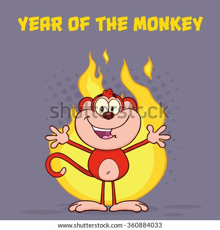 Happy Red Monkey Cartoon Character Welcoming Over Flames. Raster Illustration Greeting Card