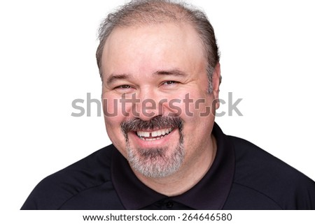 Happy relaxed smiling middle-aged man looking at the camera with a lovely wide friendly smile, isolated on white - stock photo