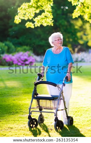Happy retired senior lady with walking disability enjoying a day in the park going for a walk with a wheel chair or walker - stock photo