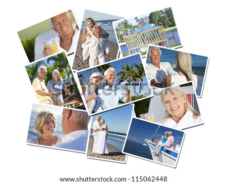 Happy retirement senior man and woman couples active romantic vacation together in summer sunshine on a beach, sailing and playing golf - stock photo