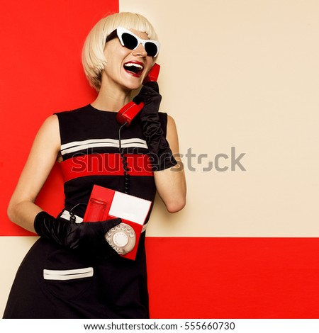 Happy Retro Blonde in vintage clothes and retro telephone. Minimal Fashion. Stripe Design Emotion Fashion Art