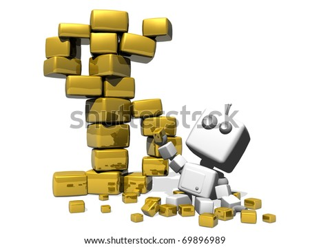 Happy robot sitting on a white background with a lot of precious golden cubes. A Golden dollar symbol made with big golden cubes stands near the robot. - stock photo