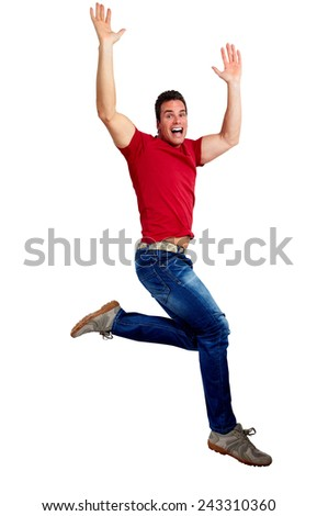 Happy running young man isolated white background